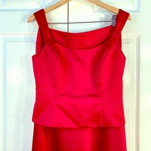 RED SATIN 2 PIECE STRAPLESS A-LINE SKIRT SIZE 10
